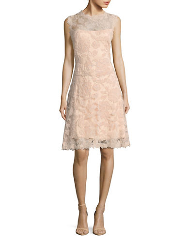 Tadashi Shoji Cap Sleeve Fit-and-Flare Lace Cocktail Dress-PINK-12