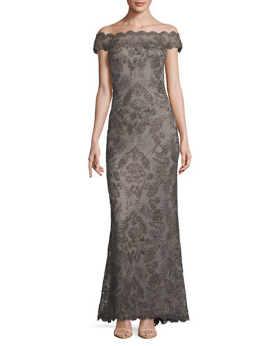 Tadashi Shoji Off-the-Shoulder Lace Gown-GREY-16