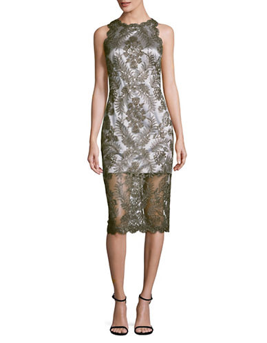 Tadashi Shoji Bead and Embroidered Sleeveless Sheath Dress-MULTI-14