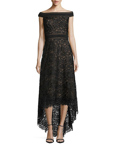 Tadashi Shoji Off-The-Shoulder Lace Gown-BLACK/NUDE-8