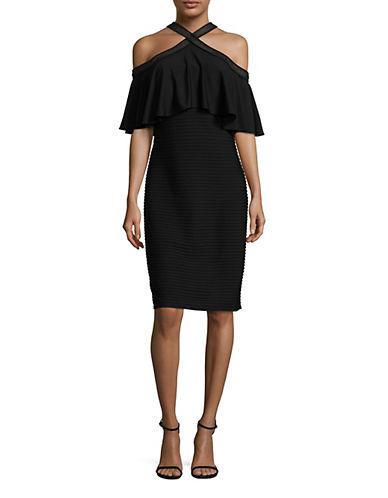 Tadashi Shoji Crisscross Ruffle Bodycon Dress-BLACK-2