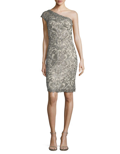 Tadashi Shoji One Shoulder Lace Fitted A-Line Dress-GREY-16