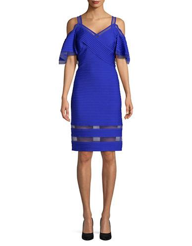 Tadashi Shoji Pintuck Cold-Shoulder Dress-BLUE-2