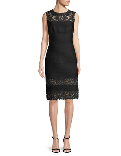 Tadashi Shoji Sleeveless Lace Sheath Dress-BLACK-10