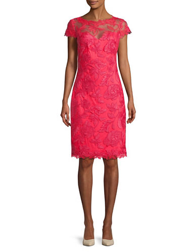 Tadashi Shoji Short Sleeve Lace Sheath Dress-RED-2
