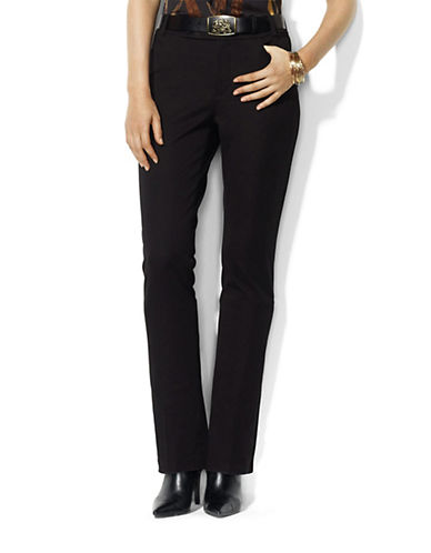 Lauren Ralph Lauren Petite Twill Straight Leg Pants-BLACK-Petite 4 86182207_BLACK_Petite 4