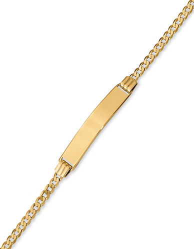 Fine Jewellery 14K Yellow Gold Curb Chain Children Bracelet-GOLD-One Size