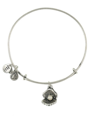 Alex And Ani Oyster and Pearl Charm Bangle-SILVER-One Size