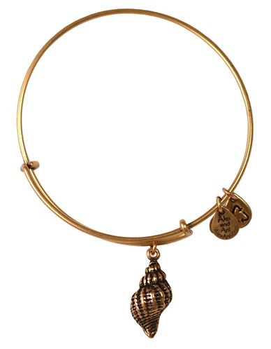 Alex And Ani Conch Charm Bangle-GOLD-One Size
