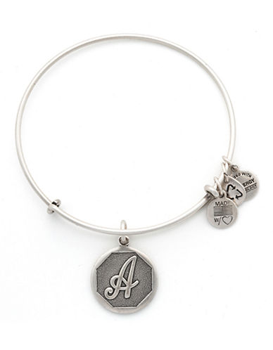 Alex And Ani Initial A Charm Bangle-SILVER-One Size