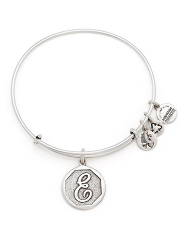 Alex And Ani Initial E Charm Bangle-SILVER-One Size