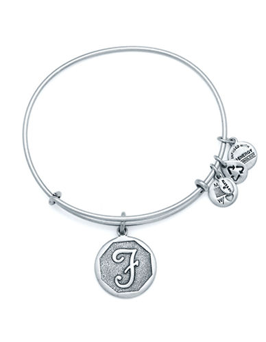 Alex And Ani Initial F Charm Bangle-SILVER-One Size