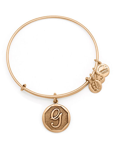 Alex And Ani Initial G Charm Bangle-GOLD-One Size