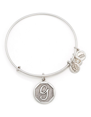 Alex And Ani Initial G Charm Bangle-SILVER-One Size