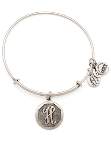 Alex And Ani Initial H Charm Bangle-SILVER-One Size