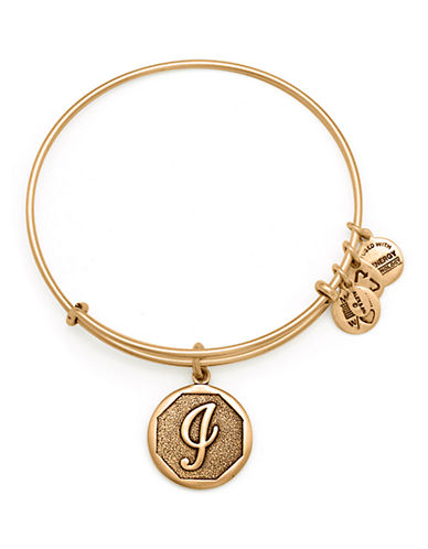 Alex And Ani Initial J Charm Bangle-GOLD-One Size