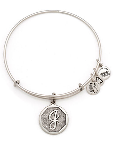 Alex And Ani Initial J Charm Bangle-SILVER-One Size
