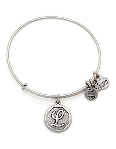 Alex And Ani Initial L Charm Bangle-SILVER-One Size