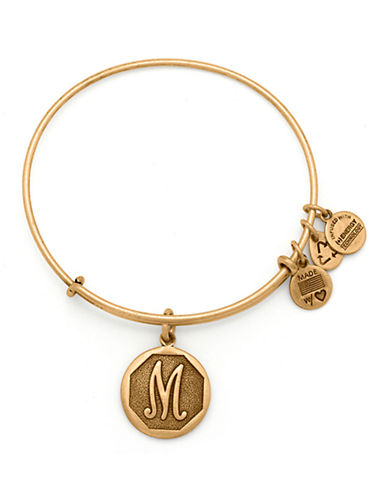 Alex And Ani Initial M Charm Bangle-GOLD-One Size