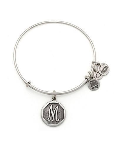 Alex And Ani Initial M Charm Bangle-SILVER-One Size