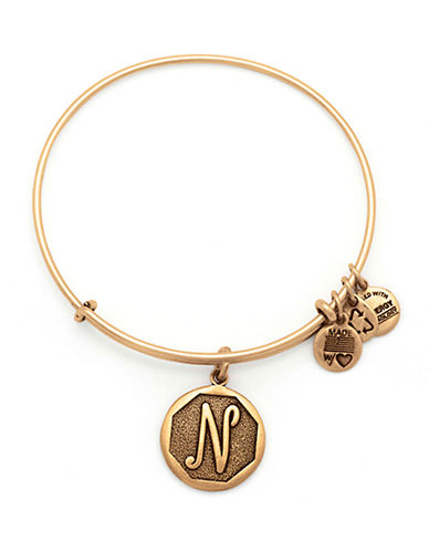 Alex And Ani Initial N Charm Bangle-GOLD-One Size