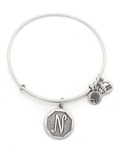 Alex And Ani Initial N Charm Bangle-SILVER-One Size