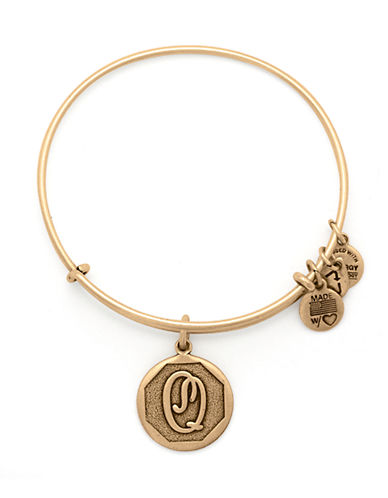 Alex And Ani Initial Q Charm Bangle-GOLD-One Size