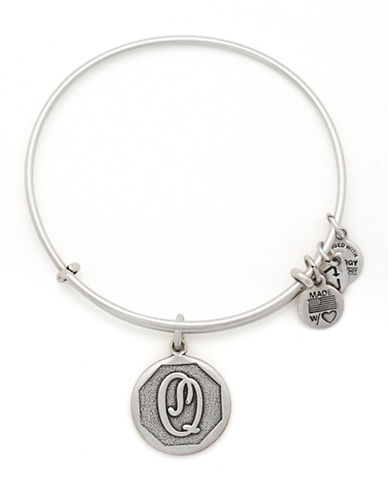 Alex And Ani Initial Q Charm Bangle-SILVER-One Size