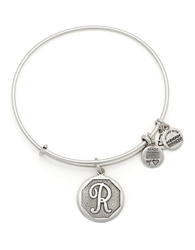 Alex And Ani Initial R Charm Bangle-SILVER-One Size