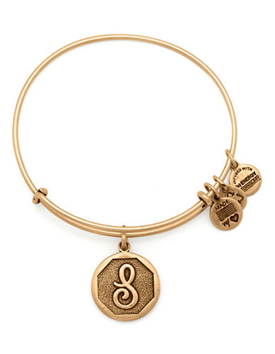 Alex And Ani Initial S Charm Bangle-GOLD-One Size