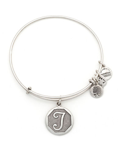 Alex And Ani Initial T Charm Bangle-SILVER-One Size