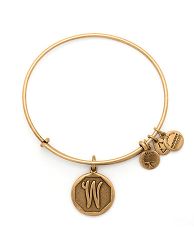 Alex And Ani Initial W Charm Bangle-GOLD-One Size