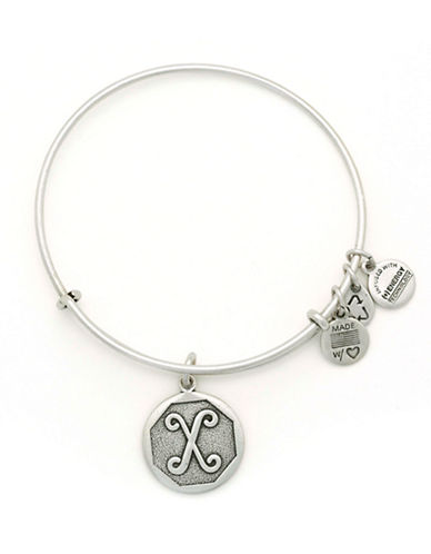 Alex And Ani Initial X Charm Bangle-SILVER-One Size