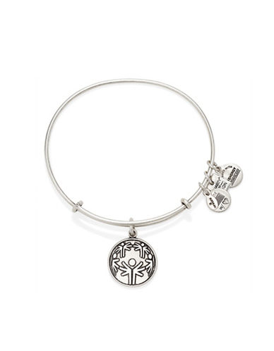 Alex And Ani Power of Unity Charm Silvertone Bangle-SILVER-One Size