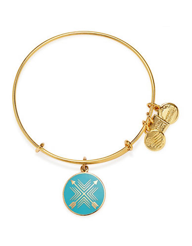 Alex And Ani Arrows of Friendship Charm Bracelet-BLUE/GOLD-One Size