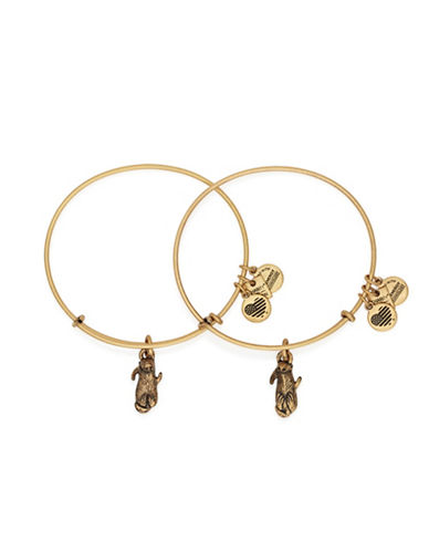 Alex And Ani Side by Side Charm Bangle Set-GOLD-One Size