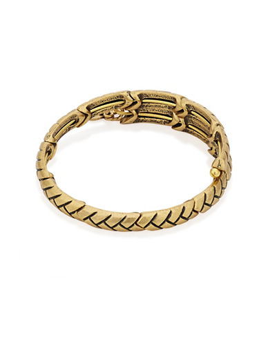 Alex And Ani Natures Weave 24K Oxidized Gold and 24K Gold Flash Wrap Bracelet-GOLD-One Size