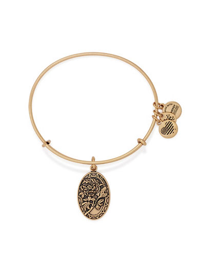 Alex And Ani Because I Love You Mom 24K Gold Flash Charm Bangle-GOLD-One Size