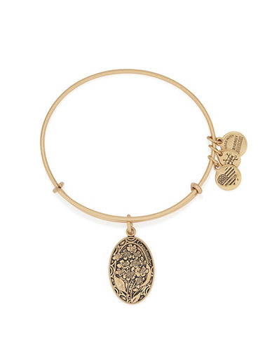 Alex And Ani Because I Love You Grandmother 24K Gold Flash Charm Bangle-GOLD-One Size