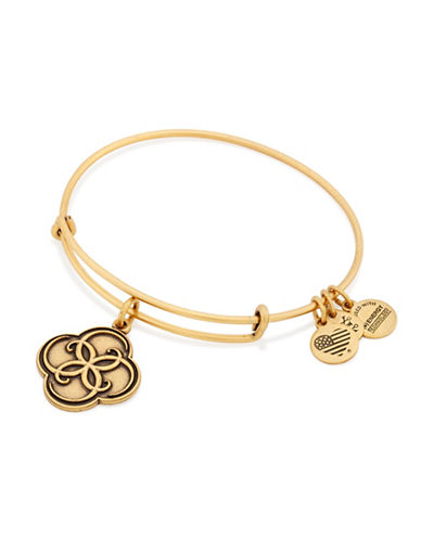 Alex And Ani Rafaelian Gold Flashed Brass Breath of Life Charm Bangle-GOLD-One Size
