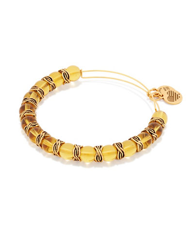 Alex And Ani Glory Independence Rafaelian Gold Flashed Beaded Bangle-GOLD-One Size