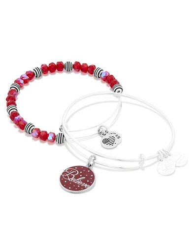 Alex And Ani Believe Wine Infusion Silverplated Bangle Set-SILVER-One Size