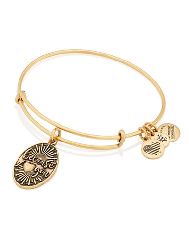 Alex And Ani Rafaelia Because I Love You Charm Bangle-GOLD-One Size