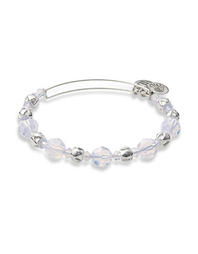 Alex And Ani Cloud Silverplated Swarovski Crystal Beaded Bangle-SILVER-One Size