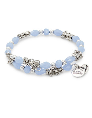 Alex And Ani Sky Fate Wrap Rafelian Silver Bracelet-BLUE-One Size