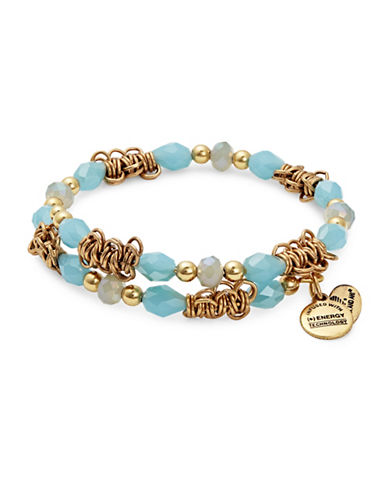 Alex And Ani Tide Fate Wrap Rafelian Gold Bracelet-BLUE-One Size