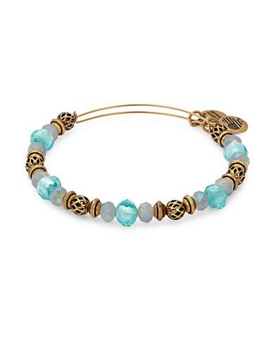 Alex And Ani Rafaelian Gold Flash Tide Moon Beaded Bangle Bracelet-BLUE-One Size