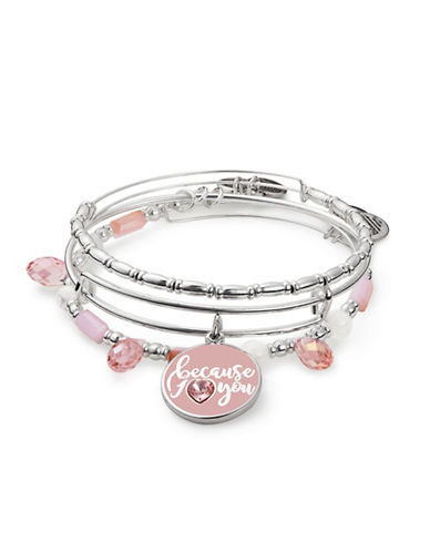 Alex And Ani Because I Love You Three-Piece Silvertone Bangle Set-PINK-One Size