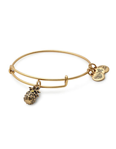 Alex And Ani Swarovski Crystal Gold Flash Pineapple Charm Bangle Bracelet-GOLD-One Size