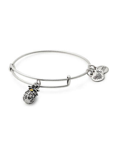 Alex And Ani Swarovski Crystal Silverplated Pineapple Charm Bangle Bracelet-SILVER-One Size